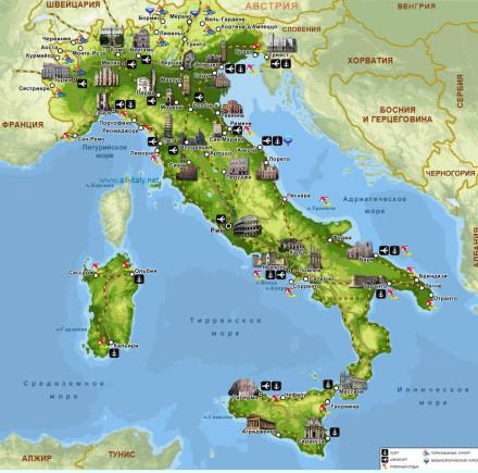 Лучшие пляжи Италии карта